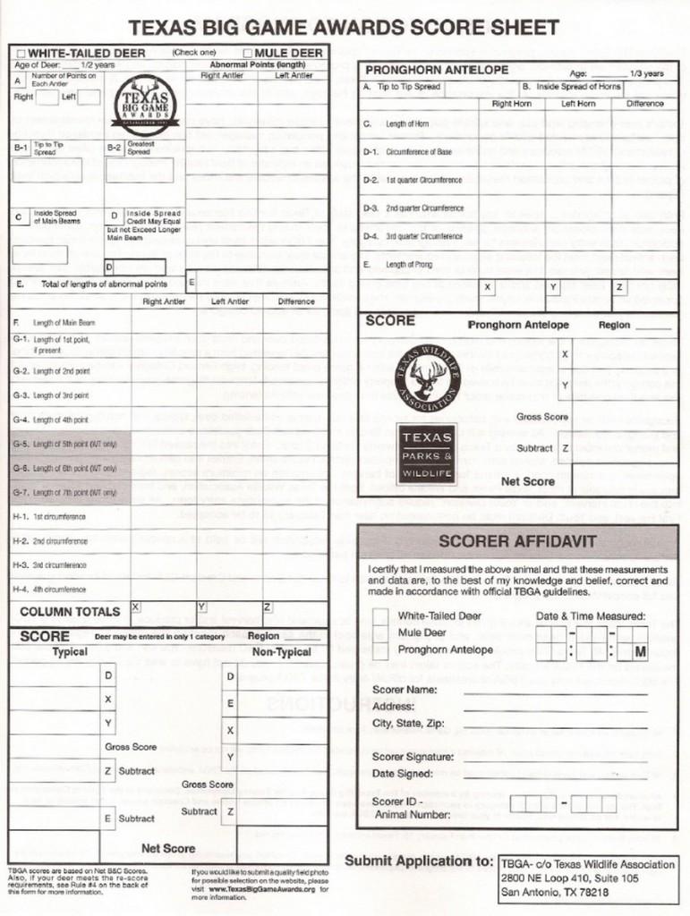 Antler Score Sheet